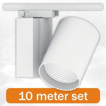 10 x BudgetSpot + 10 Meter Rail compleet Wit