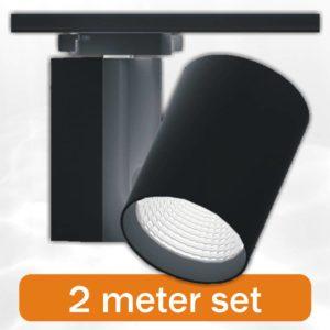 2-x-budgetspot-2-meter-rail-compleet-zwart
