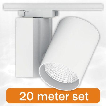 20 x BudgetSpot + 20 Meter Rail compleet Wit